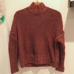 Free people - dusty rose chunky wool sweater